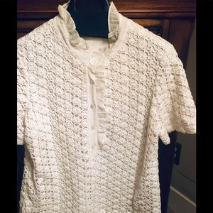 Tory Burch white eyelet sweater with lace collar.
